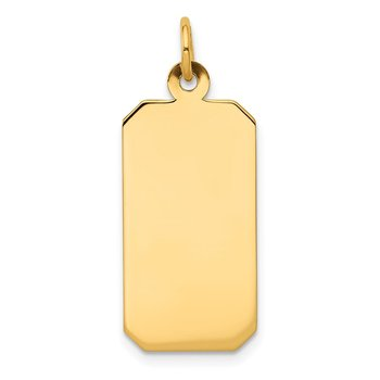 14k Plain .018 Gauge Engravable Rectangular Disc Charm