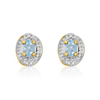14k Yellow Gold Aquamarine Earrings with Diamonds