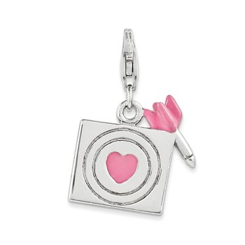 Sterling Silver And Enameled Bullseye Charm