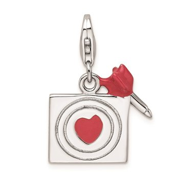 Sterling Silver Rhodium-Plated And Enameled Bullseye Charm