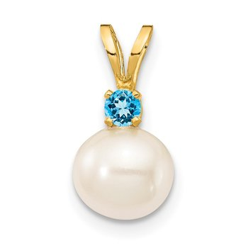 14K 6-7mm White Round FWC Pearl Swiss Blue Topaz Pendants
