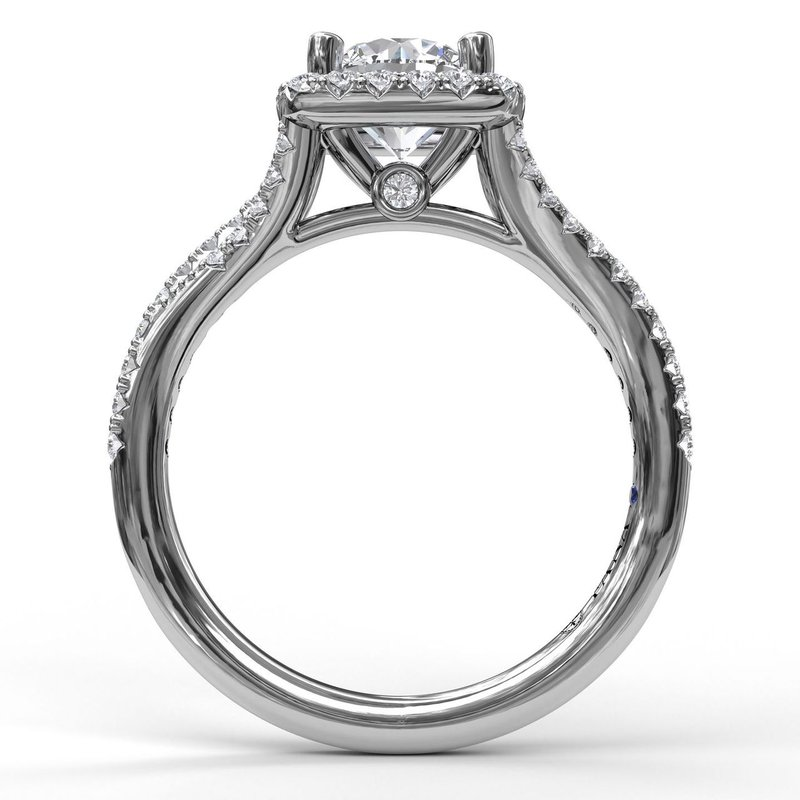 Fana Classic Halo Engagement Ring with a Split Band