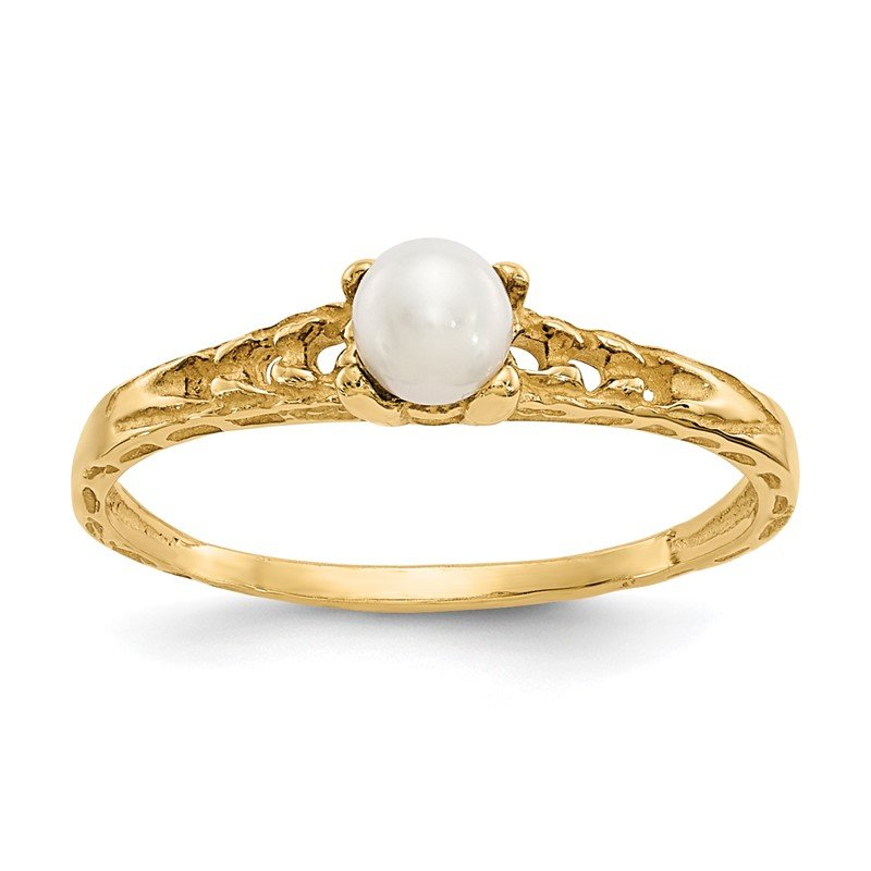 Quality Gold 14k Madi K 3mm FW Cultured Pearl Birthstone Baby Ring