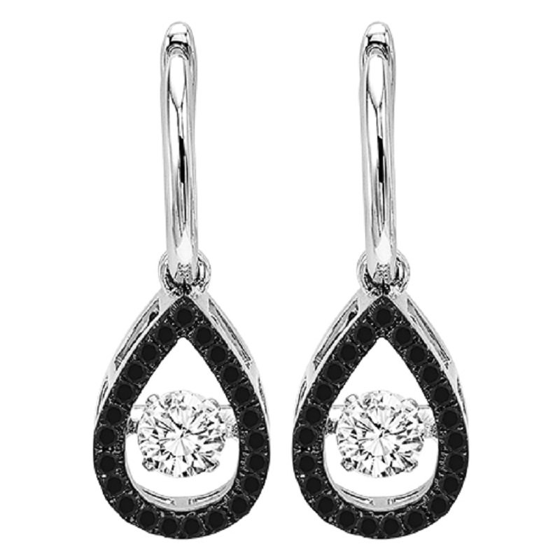 Necker's Signature Collection 14K Black & White Diamond Rhythm Of Love Earrings 3/4 ctw