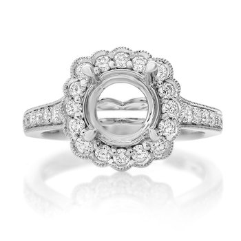 White Gold Flowering Engagement Setting