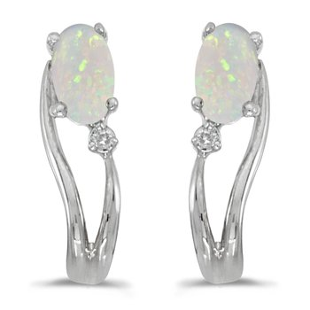14k White Gold Oval Opal And Diamond Wave Earrings
