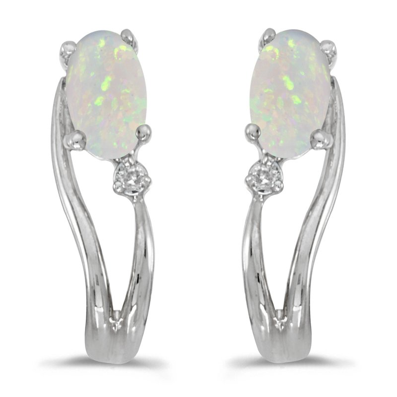 Color Merchants 14k White Gold Oval Opal And Diamond Wave Earrings