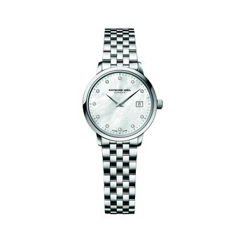 Ladies Quartz Date Watch, 29 mm Steel on steel 11 diamonds