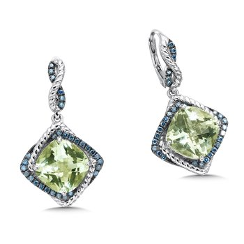 Sterling silver, green amethyst and blue diamond earrings
