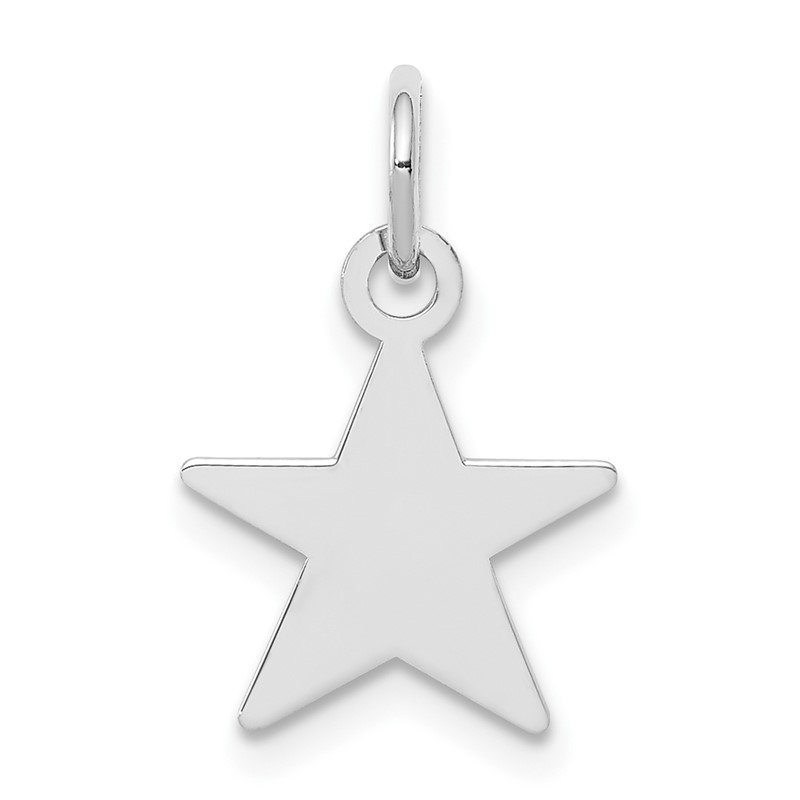 Quality Gold Sterling Silver Rhodium-plated Engraveable Star Disc Charm