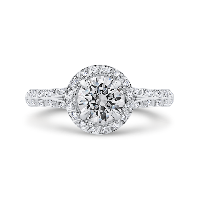 18K White Gold Round Diamond Double Row Engagement Ring with Split Shank  (Semi-Mount)