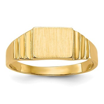 14K Rectangular Satin Baby Signet Ring