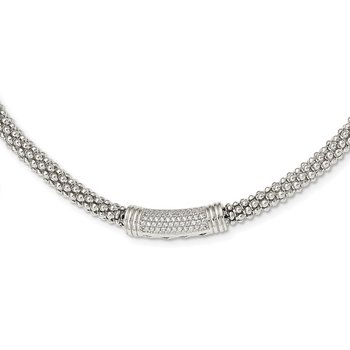 Sterling Silver Fancy CZ Necklace