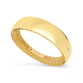 Wide Gold Bangle With Diamonds