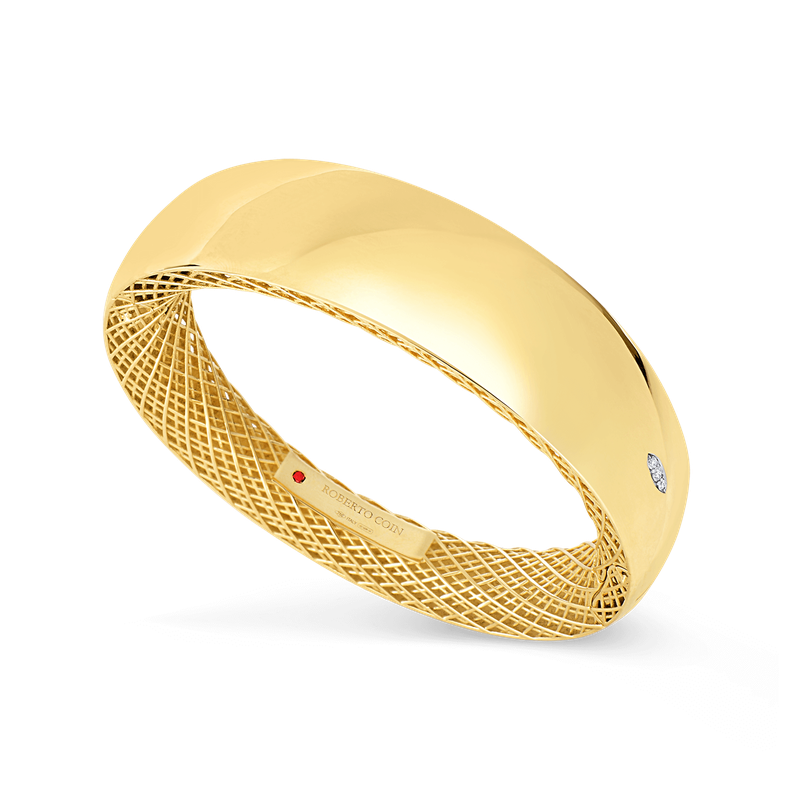 Roberto Coin 18Kt Gold Wide Bangle With Diamonds