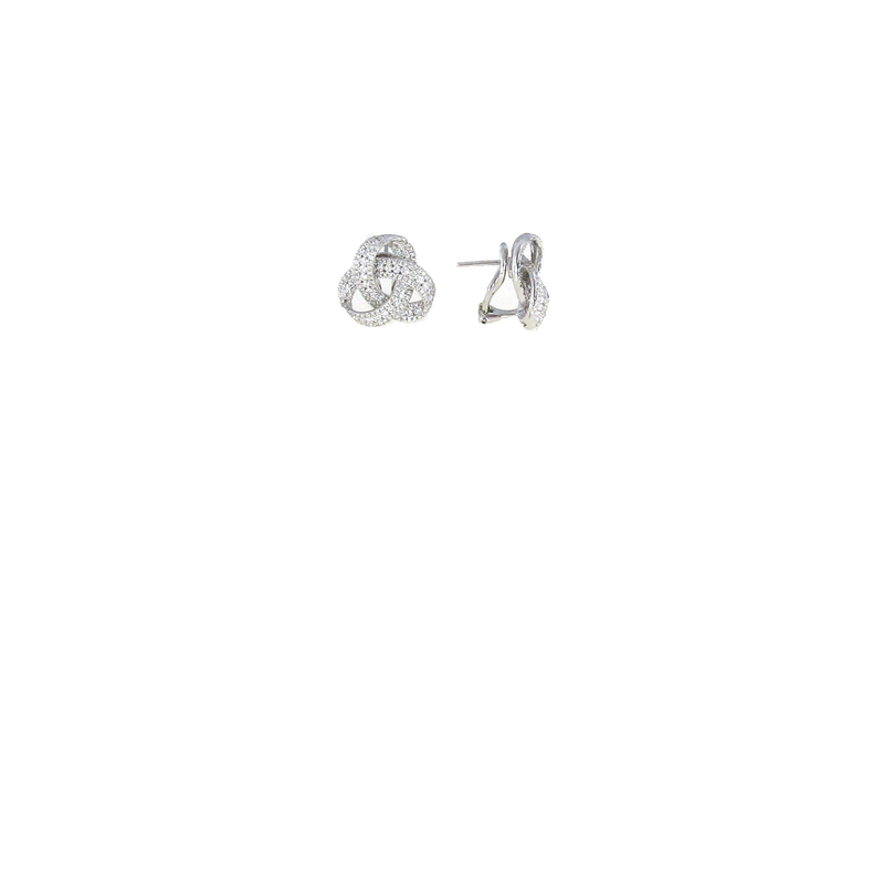 Roberto Coin 18KT WHITE GOLD DIAMOND KNOT EARRINGS