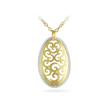 14K YW Laser Cut Oval Shape Filigree Design Necklace