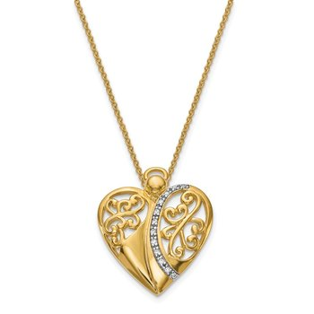 Sterling Silver & Gold-plated CZ Angel of Love 18in Necklace