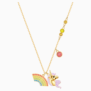 Out of this World Unicorn Necklace, Multi-colored, Gold-tone plated
