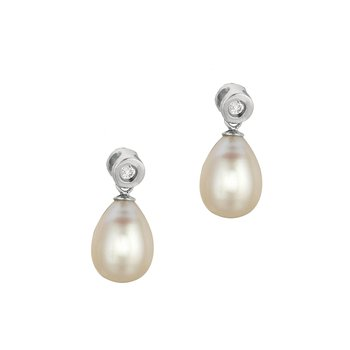 Silver Freshwater Pearl and Bezel Set CZ Drop Earrings