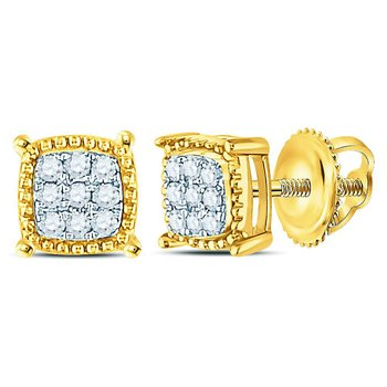 10kt Yellow Gold Mens Round Diamond Square Milgrain Cluster Earrings 1/10 Cttw