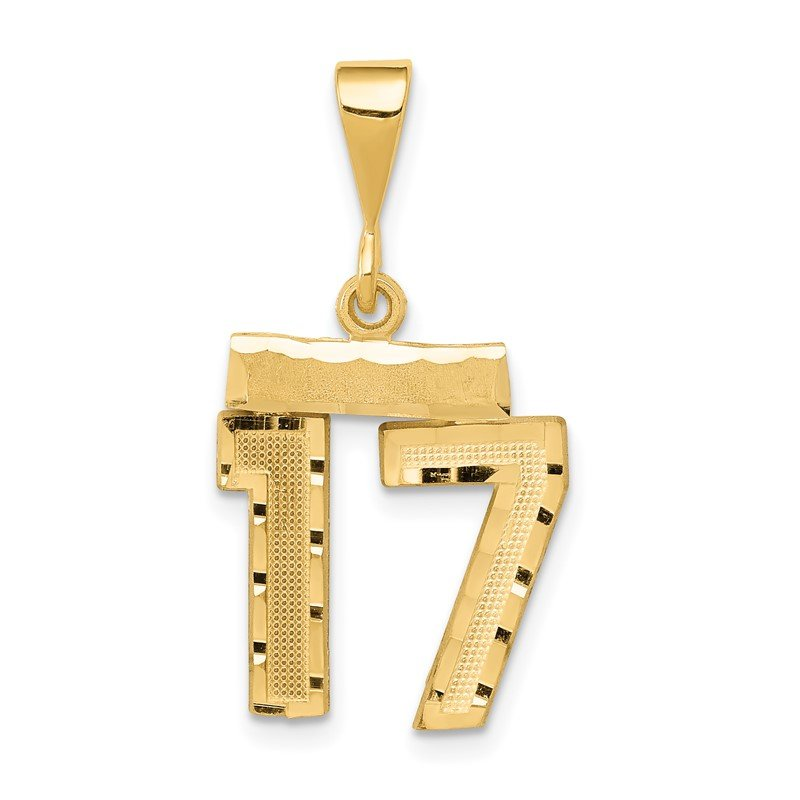 Quality Gold 14k Small Diamond-cut Number 17 Charm
