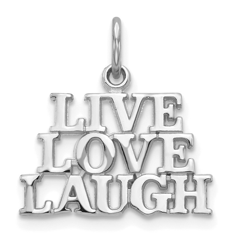 Fine Jewelry by JBD 14K White Gold Polished LIVE LOVE LAUGH Charm