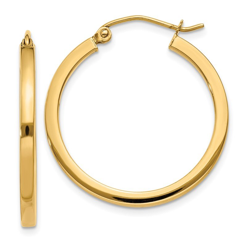 Quality Gold 14k 2mm Square Tube Hoop Earrings