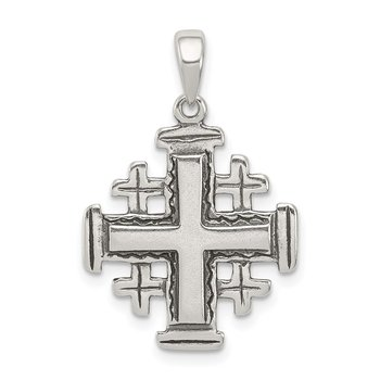 Sterling Silver Antiqued Jerusalem Crusader Pendant