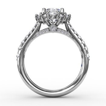 Contemporary Engagement Ring With Prong-Set Diamond Halo