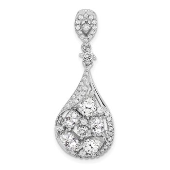 Sterling Silver Rhodium-plated CZ Teardrop Dangle Pendant