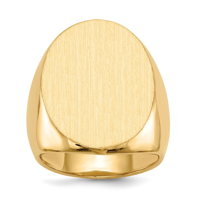Quality Gold 14k 26.5x19.0mm Closed Back Men's Signet Ring