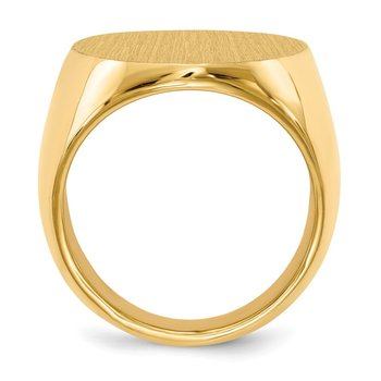 14k 26.5x19.0mm Closed Back Men's Signet Ring