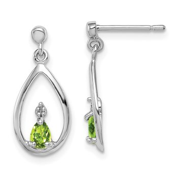 Sterling Silver Rhodium Pear Peridot & Diamond Post Earrings