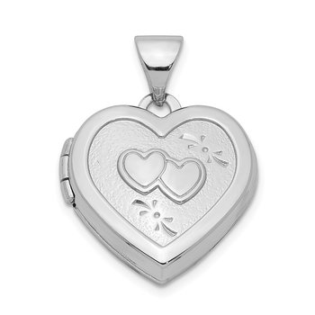 Sterling Silver Rhodium-plated 15mm Double Heart on Heart Locket