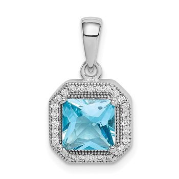 Sterling Silver Rhodium Plated Clear CZ and Square Blue CZ Pendant