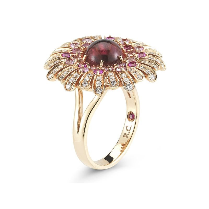 Roberto Coin 18KT GOLD RING WITH DIAMONDS, SAPPHIRES AND TOURMALINE