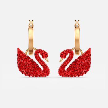 Iconic Swan Pierced Earrings, Red, Gold-tone plated