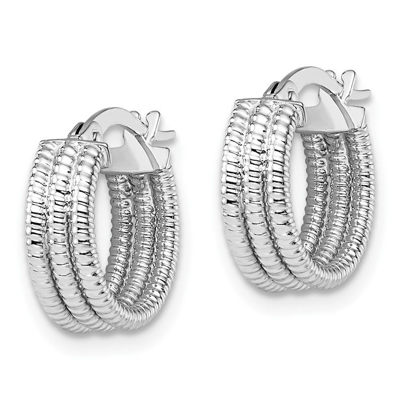 Leslie's Leslie's 14K White Gold Fancy Hoop Earrings