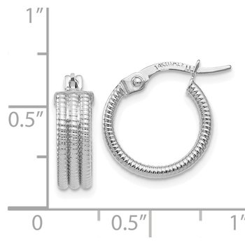 Leslie's 14K White Gold Fancy Hoop Earrings
