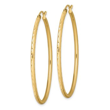 Sterling Silver Gold-plated Textured 2mm Hollow Oval Hoop Earrings