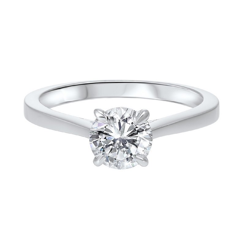 Gems One Diamond Round Classic Solitaire Engagement Ring in 14k White Gold (1/3ctw)