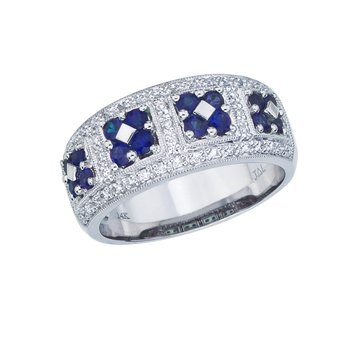 14k White Gold Sapphire and  Diamond Wide Fashion Band