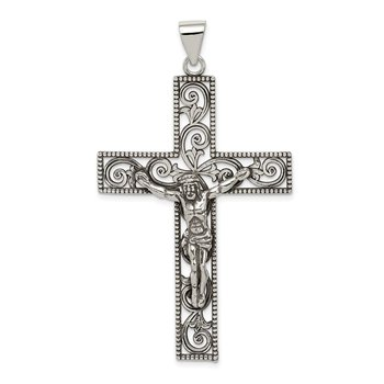 Sterling Silver Antiqued Beaded Filigree Crucifix Pendant
