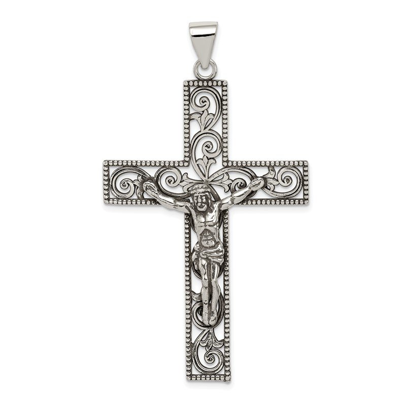 Quality Gold Sterling Silver Antiqued Beaded Filigree Crucifix Pendant