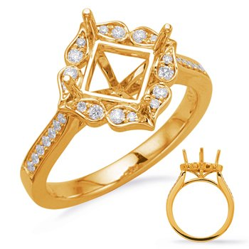 Yellow Gold Halo Engagement Ring 5mm
