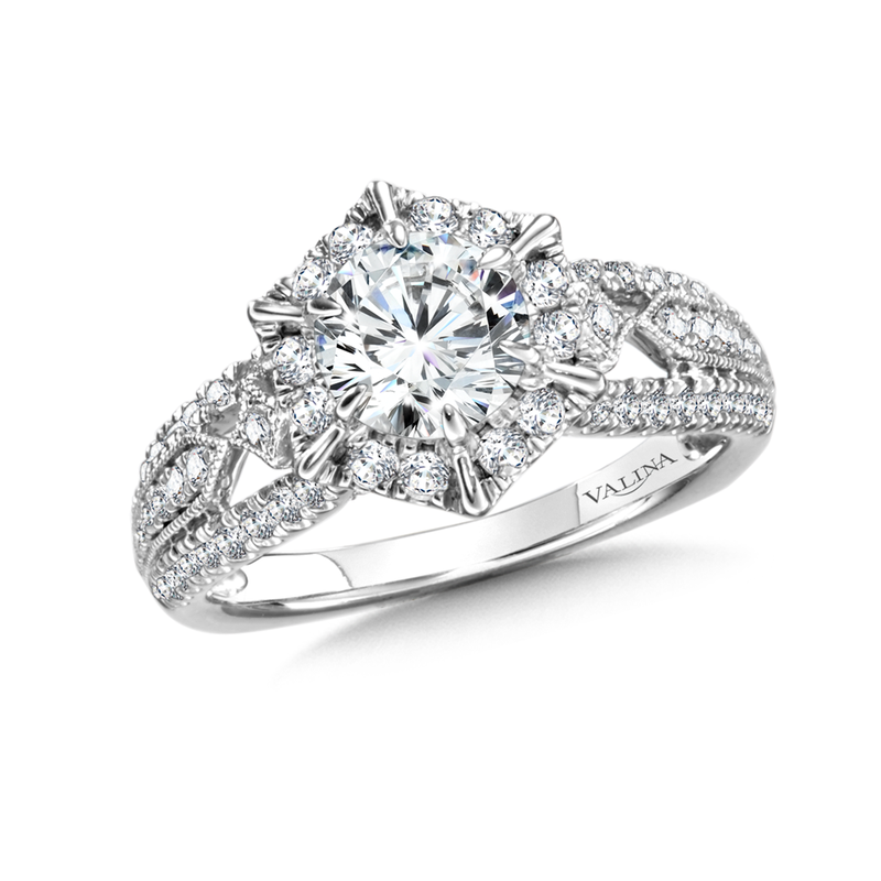Valina Diamond Halo Engagement Ring Mounting in 14K White Gold (0.63 ct. tw.)