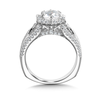Diamond Halo Engagement Ring Mounting in 14K White Gold (0.63 ct. tw.)