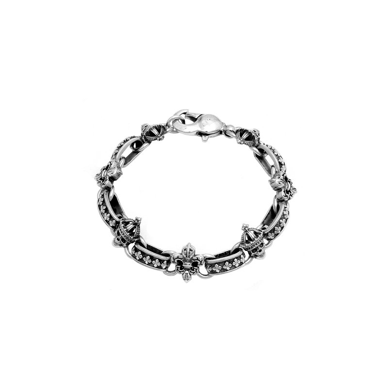 King Baby Skull & Fdl Light Link Bracelet