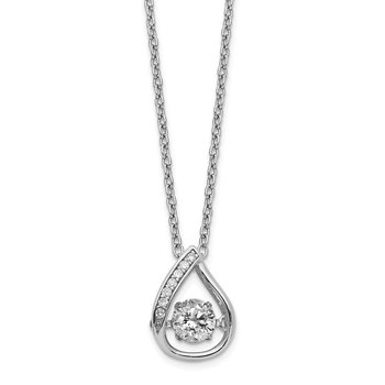 Cheryl M Sterling Silver Moving Brilliant-cut CZ Center Teardrop Necklace